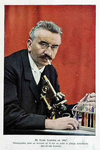 Louis Lumiere in 1907.  Autochrome print.