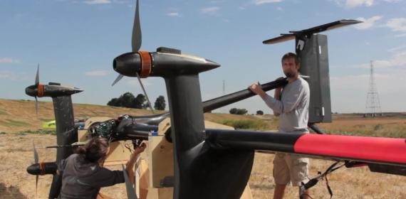 Still from footage of Makani Power's flying turbine test flight.