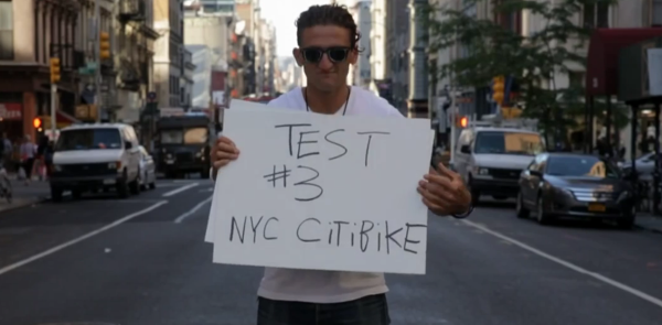 Still from Casey Niestat's review of CitiBikes, CitiBikes Are a Pain in the Ass.