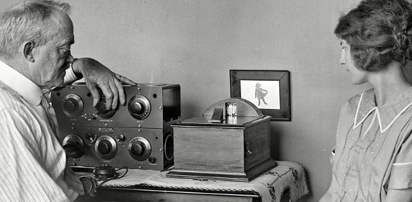 Television pioneer C. Francis Jenkins with a motion picture prototype in 1925.
