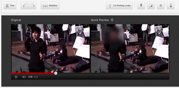 Detail of the Youtube blurring interface, allowing facial anonymizing during upload.