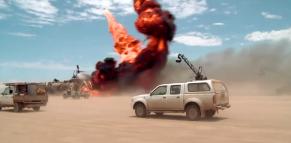 Filming a car chase in the desert for Mad Max: Fury Road.